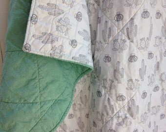 Organic Wholecloth Quilt - Cactus Sketch and Sea Glass Green - Crib Quilt, MADE TO ORDER