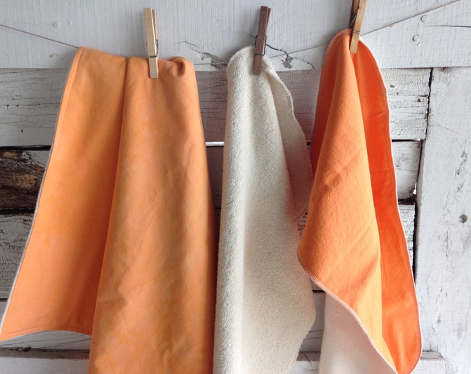 Organic Baby Gift Set, Includes Blanket & Two Burp Cloths - Hand Dyed Organic Cotton - Orange Dreamsicle