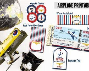 Airplane Invitations, Airplane birthday party, airplane printable set, Boarding Pass invitation, Airplane Party set