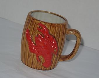 vintage lobster trap mug / kitsch kitchen decor / 60s mid century figural collectable / kitchen bar home