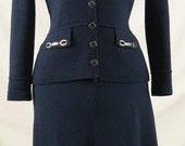 Vintage St. John's Navy Blue Knit Skirt Suit Set