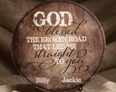 Personalized Wood Established Sign, Family Established Sign, Couples Name Sign, God Blessed The Broken Road