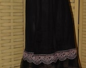 Vintage Nylon? Synthetic? 1950s Black with Pink Lace Shirt Slip, Medium Excellent Used