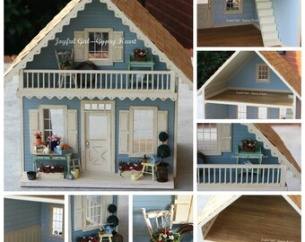 Custom Miniature Dollhouse Shabby Cottage 1:12 scale. You choose the colors