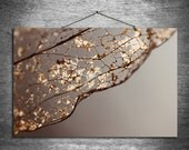 Repurposed - multiple sizes fine art photo - gold brown taupe fall skeleton leaf - free U.S. shipping