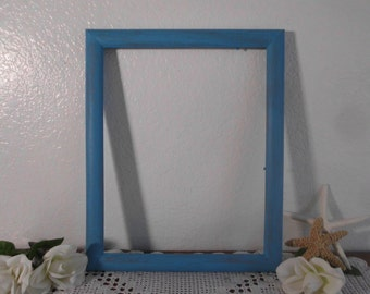 11 x 14 Turquoise Blue Wood Picture Frame Up Cycled Vintage Wooden Photo Decoration Beach Cottage Coastal Seaside Tropical Island Home Decor