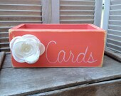 Rustic Coral and White Wedding Cards Box, Wooden Wedding Cards Holder, Distressed Wood Box
