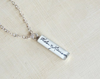 CUSTOM Handwriting Necklace - Handwriting Jewelry - Actual Handwriting - Sterling Silver - Signature - Mother's Day Gift - Memorial Jewelry