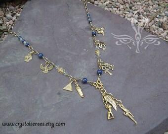 "Egypt Lapis Lazuli Beaded Chain Necklace 32"" (EGYN0001)"