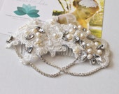SALE Crystal and pearl vintage inspired gatsby bridal headpiece