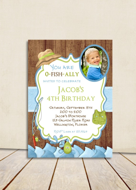 Rustic Fishing Birthday Invitation -Fish and Rod Gone Fishing Printed or Digital Invite