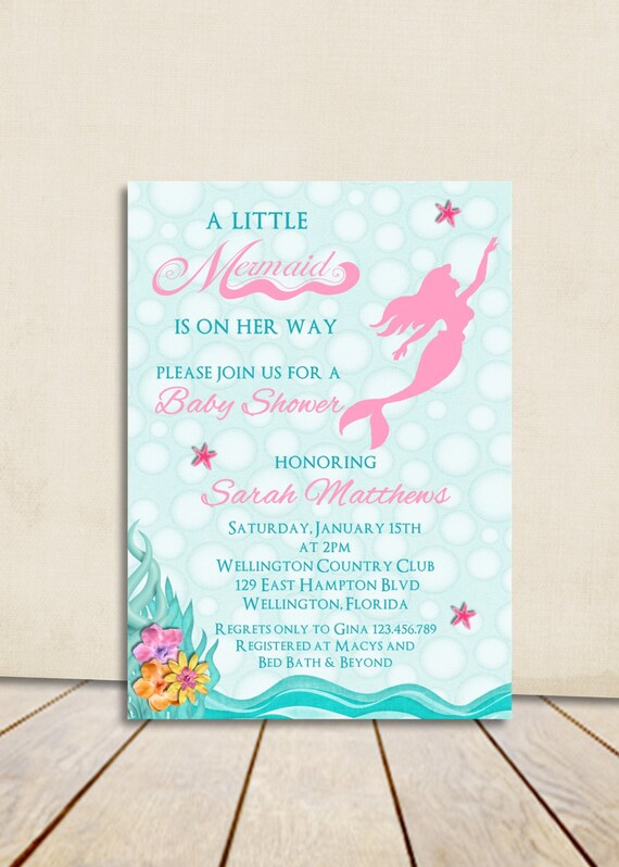 Mermaid Girl Baby Shower Invitation - Pink Under the Sea Little Mermaid Printable Invite