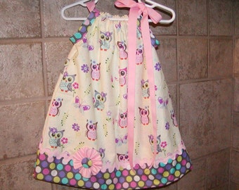 Girls Pillowcase Dress..Hoot Owl N Dots...Infant toddler Custom. sizes 0-6, 6-12, 12-18, 18-24 months, 2T, 3T..Bigger sizes AVAILABLE