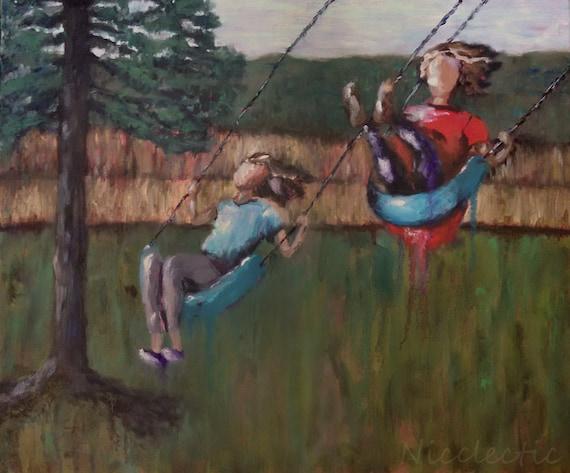 Girls on swings, best friends, original oil painting, girls bedroom decor, children playing, swings, playroom, childrens art, swinging fun