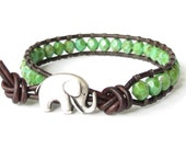 Elephant bracelet in green turquoise picasso, UK jewellery gift for best friend, beaded leather wrap bracelet for stacking and layering