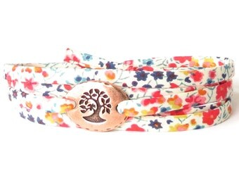 Liberty fabric bracelet for women in colourful meadow florals, confirmation gift for girls, get well gift for strength and support