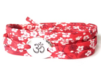 Red Yoga bracelet with om charm and Liberty fabric ribbon in pretty florals, meaningful gift for best friend, meditation symbol
