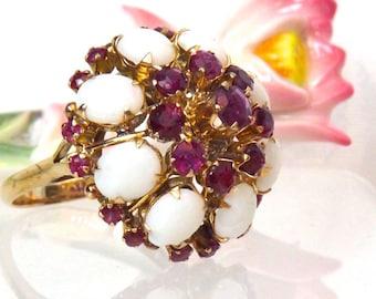 Vintage Opal Garnet 14K Gold Cluster Statement Ring