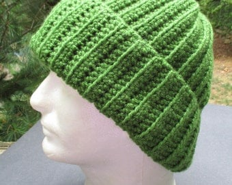 X Large Crocheted Hat - Kelly Green - Unisex - Beanie - Toque - Watch Cap - Large Hat