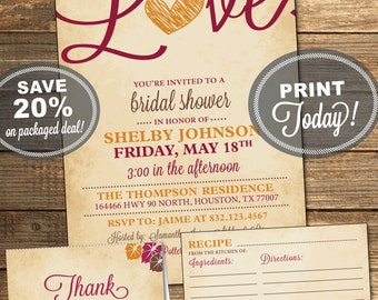 Bridal Shower Package, Invitation, Recipe Card, Thank You Card, Fall in Love, Merlot, Wine, Orange, Brown, Printable File (INSTANT Download)