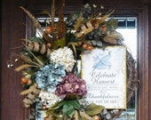 CELEBRATE HARVEST THANKSGIVING and Fall Grapevine Wreath
