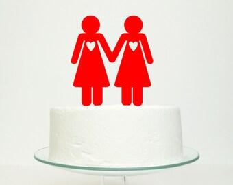 Hers 'n' Hers' Cake Topper - Lesbian Gay Wedding