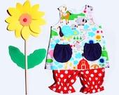 Girls baby dress set in farmyard nursery print