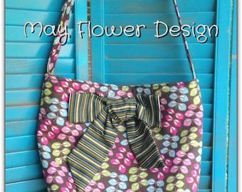 Brown/Green/Blue/Pink Leaves Shoulder Bag