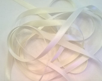 Ivory Silk Satin Ribbon, Double-Faced - 1/4 Inch - 6mm Ribbon - Sold by the Yard