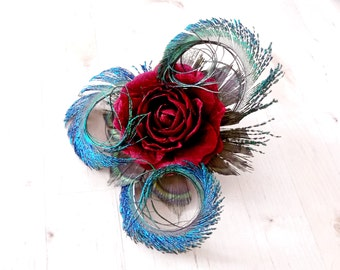 Red Silk Rose and Peacock Feather Hair Clip