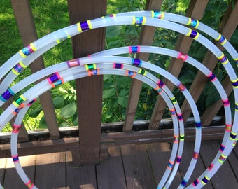 Gemstone custom- Clear Polypro or White HDPE Hoop Hoop with Gemstone style taping