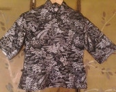 70s Black and silver Chinese / Asian shirt