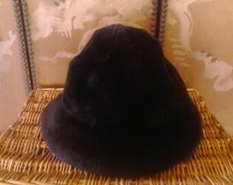 70s dark brown faux fur hat