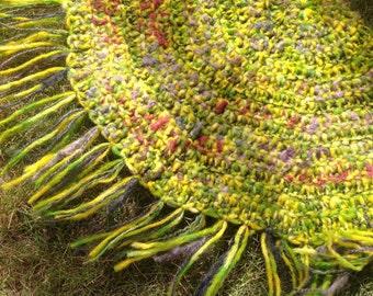 Crochet Meditation Mat,Prayer Rug,Crochet Mandala,Knit Rug,Bohemian Rug,Hippie Rug,Spirituality,Wool Acrylic Yarn,Fringe,Circle,Yellow,Green