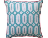 Aqua Hexagon linen cushion cover
