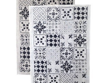 Black Tiles linen tea towel