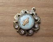 Vintage Mary Glass Intaglio Cabochon Set into New Brass Ox Pendant Setting w/ Crystal Rhinestones (1)