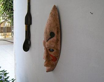 Handcarved Pink Red Black Wood Long Totem Face, Tribal African Colture wooden Man Mask, Ethnic Primitive Wall figurine, Cottage chic Decor