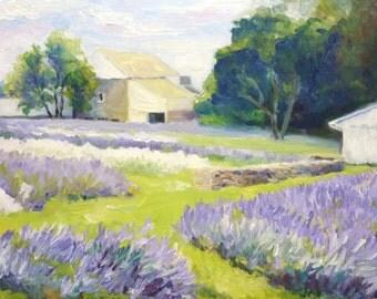 Lavender Farm Original Landscape Oil Painting on Canvas