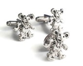 SALE Silver Dancing Bear Cufflinks & Tie Tack, Men's Handcrafted Grateful Dead Music Cuff Links Set- Guys Gift Groom Prom