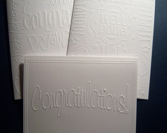 Set of Six Embossed Congratulation Cards