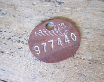 Vintage WW2 Lockheed Aviation Composite Work Tag Token ~ Unique Gifts for Pilots, Original Present for Dad, Gifts for Men under 50, Bachelor