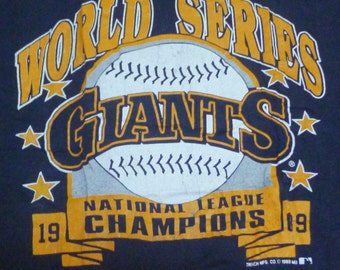 Vintage 80s 1989 Giants National League Champions World Series Baseball Black T Shirt