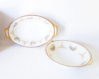 Vintage Dish Bowls Victorian China Casserole Serving Vegetable Bowl Gold Floral Bowls Wedding Bridal Decor Serving Gift Holiday Dinnerware