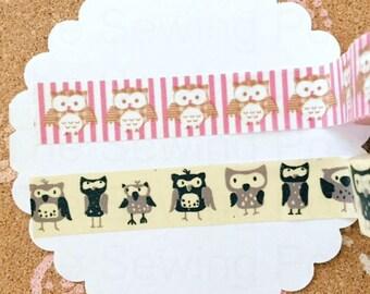 Washi Tape Set of 2: Owls