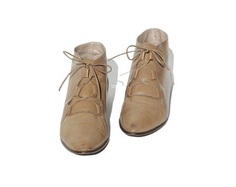 Size 8 ITALIAN Tan Leather Ankle Boots
