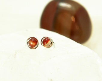 Tiny Red Agate Stud Earrings - Sterling Silver Red Orange Gemstone Rounds - Grounding, Determination, Success, Healing