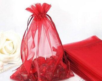 "25pcs Red Organza Gift bags 4""X6"""