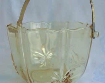 Fostoria Baroque topaz ice bucket yellow depression glass