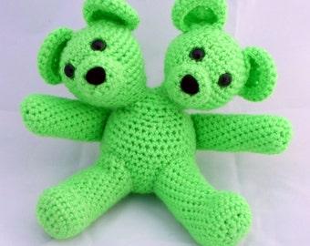 Crocheted Two Headed Mutant Bear